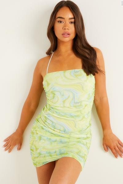 Lime Tie Dye Ruched Mini Dress